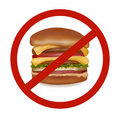 Fast food danger label (colored).  Royalty Free Stock Image