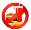 Fast food danger label. Vector Stock Images