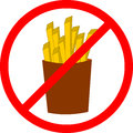 Fast food danger label. Vector illustration french fries Royalty Free Stock Photo