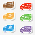 Fast food delivery trucks stickers vector Stock Photography