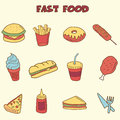 Fast food doodle icons hand drawing style Stock Photo