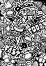 Fast food doodle illustrated with black pen Stock Photos