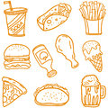 Fast food doodle set vector art Royalty Free Stock Photo