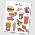 Fast food doodles lined paper illustration of colored on Stock Photography