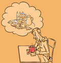Fast food dream good food illustration cartoon Stock Image