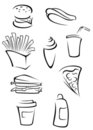 Fast food elements Royalty Free Stock Image