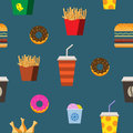 Fast food flat seamless pattern
