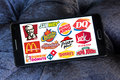 Fast food franchises brands and logos Royalty Free Stock Photo
