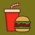 Fast Food Hamburger And Soda Drink Royalty Free Stock Photo