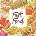 Fast Food Hand Drawn Background with Burger, Hot Dog and Drink. Unhealthy Eating