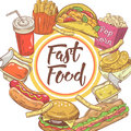 Fast Food Hand Drawn Design with Sandwich, Fries and Burger. Unhealthy Eating Royalty Free Stock Photo