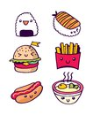 Fast Food hand drawn illustration. Rice, sushi, burger, french fries, hot dog, miso soup. White background.