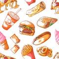 Fast food hand drawn seamless illustration pattern