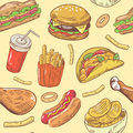 Fast Food Hand Drawn Seamless Pattern with Burger, Chicken and Fries