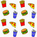 Fast food. Hand drawn seamless pattern with fries, burger, beverage, pizza.