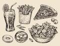 Fast Food. Hand Drawn Soda, Le...
