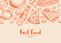 Fast food hand drawn typography design