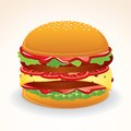 Fast food icon hamburger with cheese relish vector big double tomato and Stock Photos