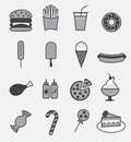 Fast food icon set fast food set on gray background Royalty Free Stock Photography