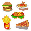 Fast food icon set fastfood junkfood delicous americanstlye illustrator french fries pizza pizzahamcheese hotdog spaghetti buger Stock Photography