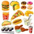 Fast Food Icon Set Royalty Free Stock Photo