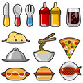 Fast food icons Royalty Free Stock Photos