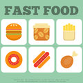 Fast food icons collection Stock Images