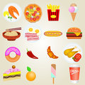Fast food icons icon colorful set Stock Photography