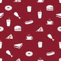 Fast food icons pattern eps red Royalty Free Stock Photography
