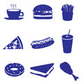 Fast food icons set eps blue Stock Photo