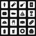 Fast food icons set squares vector