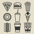 Fast food icons set Royalty Free Stock Photo