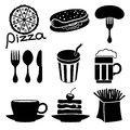 Fast food icons vector set isolated on white background Royalty Free Stock Images