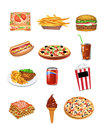 Fast food icons vector on a white backgound Stock Photos