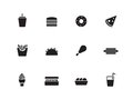 Fast food icons on white background vector illustration Royalty Free Stock Photos