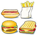 Fast food illustration of different hamburger hot dog french fries and toasted sandwich white background Royalty Free Stock Photography