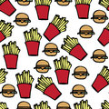 Fast food illustration of hand drawn icons Stock Photo