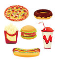 Fast food an illustration of icons Stock Images