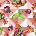 Fast food itallian pizza tasty food. Watercolor background illustration set. Seamless background pattern. Royalty Free Stock Photo
