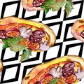 Fast food itallian pizza in a watercolor style isolated set. Watercolour seamless background pattern. Royalty Free Stock Photo