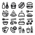 Fast food and junk food flat icons black set of about Royalty Free Stock Photo