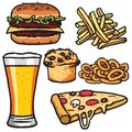 Fast Food, Junk Food Products Set. Isolated on White Background. Vector Image