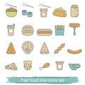 Fast food line icons set