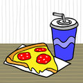 Fast food. Lunch with pizza and beverage lies on a table in a cafe.