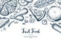 Fast food menu cover in vintage style