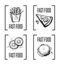 Fast food menu design element set