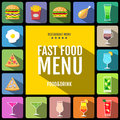 Fast food menu. Set of food and drinks icons. Flat style design. Royalty Free Stock Photo