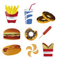 Fast food nine icons of in white background Royalty Free Stock Photo