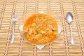 Fast food noodles with fork and spoon image of Royalty Free Stock Photos