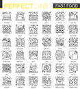Fast food outline mini concept symbols. Modern stroke linear style illustrations set. Food Perfect thin line icons.